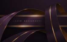 Abstract Violet And Gold Ribbons Background