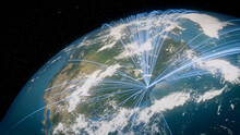 Earth In Space. Blue Lines Connect Baltimore, USA With Cities Across The World. Global Travel Or Business Concept.