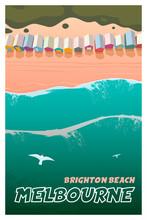 Melbourne, Brighton Beach. Top View Vector Travel Poster