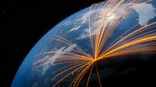 Earth In Space. Orange Lines Connect New York, USA With Cities Across The World. Global Travel Or Communication Concept.