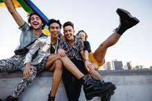 Queer People Celebrating Gay Pride Outdoors