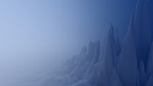 Panorama Of Fabulous Ice Mountains Cold Planet 3d Render