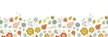 Lovely Hand Drawn Thanksgiving Seamless Pattern With Flowers And Autumn Leaves, Cute Doodle Background, Great For Textiles, Wrappers, Banners, Wallpapers -vector Design