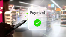 Payment With A Smartphone Using An Online Payment Service In The Grocery Store, Consumer, Online Banking, Fintech, Digitization, Internet, Contactless Payment