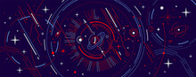 Vector Abstract Horizontal Red And Blue Space Illustration With Star, Planet And Line