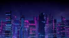 Sci-fi Cityscape With Blue And Pink Neon Lights. Night Scene With Futuristic Skyscrapers.