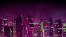 Futuristic Metropolis With Pink And Yellow Neon Lights. Night Scene With Visionary Architecture.
