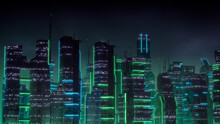 Cyberpunk City Skyline With Green And Blue Neon Lights. Night Scene With Futuristic Architecture.
