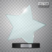 Glass Trophy Award. Star Shape Vector Prize