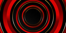 Black And Red Background With Golden Line. Abstract Geometric Background. Circle Shaped Surface. 3d Backdrop. Vector Illustration.