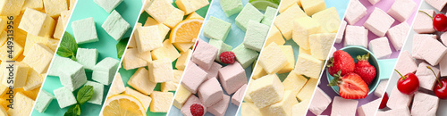 Colorful sweet marshmallows on color background