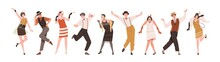 Happy People In Retro-styled Clothes Dancing To Funny Music At Gatsby Party Of 20s. Set Of Stylish Cheerful Broadway Dancers Of 1920s. Colored Flat Vector Illustration Isolated On White Background