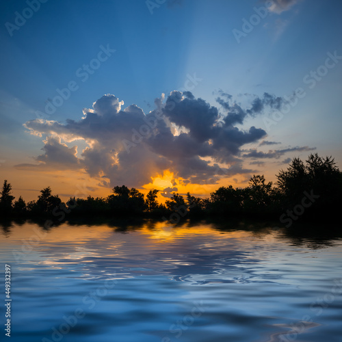 dramatic sunset over quiet lake, natural evening scene