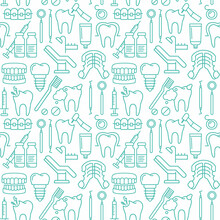Dentist, Orthodontics Seamless Pattern With Line Style Icons. Health Care Background For Dentistry Clinic. Outline Dental Care, Medical Equipment, Braces, Tooth Prosthesis, Caries Treatment Background
