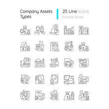 Business Assets Linear Icons Set. Company Owned Items. Plants Ownership. Resources For Productivity. Customizable Thin Line Contour Symbols. Isolated Vector Outline Illustrations. Editable Stroke