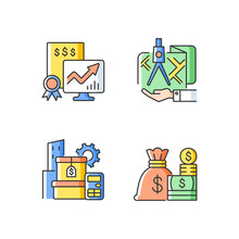 Assets Management RGB Color Icons Set. Cash And Marketable Securities. Public Stock Exchange. Money Instruments. Land Owning. Isolated Vector Illustrations. Simple Filled Line Drawings Collection