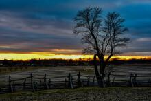 Photo Of A Beautiful Winter Sunset, Gettysburg National Military Park, Pennsylvania USA