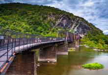 Photo Of Harpers Ferry Railroad And Footbridge, Harpers Ferry, West Virginia USA