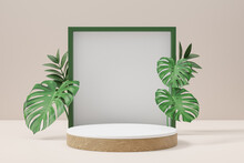 Cosmetic Display Product Stand, White Wood Round Cylinder Podium And Green Frame With Green Leaf Background. 3D Rendering Illustration