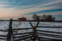 Photo Of A Winter Sunset At The Sherfy Farm, Gettysburg National Military Park, Pennsylvania USA