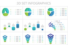 3D Set Vector Infographic Pyramid, Or Comparison Chart With 3, 4, 5, 6, 7, Colorful Levitating Layers.