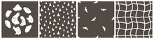 Set Of Halloween Simple Childish Seamless Patterns And Ghosts Concept. Vector White Ghosts, Vampire Bats And Simple Pattern Illustrations On Gray Background
