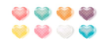 Set Of Color Love Heart With Argyle Pattern. Valentine's Day Candy Sweet Heart.