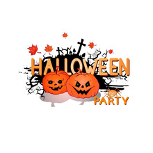 Vector Illustration With Cute Pumpkins, Spider, Web, And Lettering Halloween Party On A White Background. Cartoon Style.