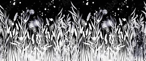 Obraz na plátně Modern floral river grass seamless border