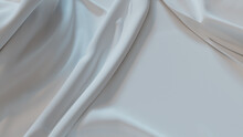 White Cloth With Ripples And Folds. Wavy Surface Background.