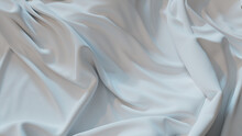 White Textile Background With Ripples. Smooth Surface Texture.