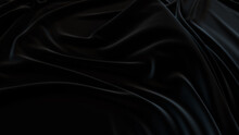 Black Textile Background With Ripples. Wavy Surface Texture.