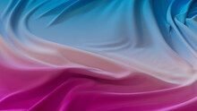 Pink And Blue Fabric With Wrinkles And Folds. Multicolored Smooth Surface Wallpaper.