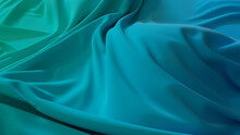Cyan And Turquoise Textile Wallpaper With Wrinkles. Multicolored Wavy Surface Texture.