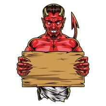 Creepy Red Devil With Blank Wooden Board