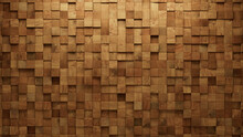 Square, Timber Wall Background With Tiles. Wood, Tile Wallpaper With 3D, Natural Blocks. 3D Render