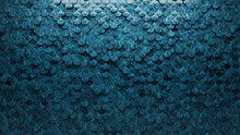 Polished, 3D Wall Background With Tiles. Fish Scale, Tile Wallpaper With Textured, Blue Patina Blocks. 3D Render