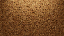 Diamond Shaped, Timber Wall Background With Tiles. Natural, Tile Wallpaper With 3D, Wood Blocks. 3D Render