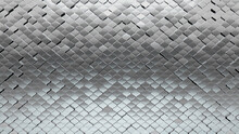 Silver, Luxurious Wall Background With Tiles. Polished, Tile Wallpaper With 3D, Arabesque Blocks. 3D Render