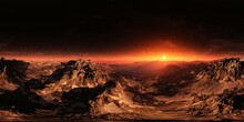 Sunset On Mars. HDRI . Equidistant Projection. Spherical Panorama. Panorama 360. Environment Map, 3d Rendering
