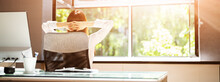 Open Window In Office. Breathing Fresh Air