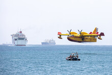 Yellow And Red Water Bomber, Turbo Prop Firefighting Aircraft