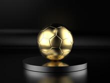 Golden Soccer Ball On Black Background