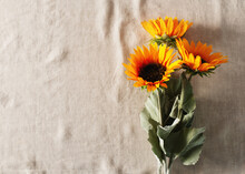 Autumn Concept With Sunflowers On Tablecloth