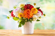 Autumn Still Life With Garden Flowers. Beautiful Autumnal Bouquet In Vase On Wooden Table. Colorful Dahlia And Chrysanthemum.