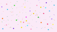Colorful Sprinkles On Pink Background, Flat Lay