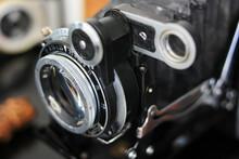 Lens Of An Antique Film Rangefinder Camera