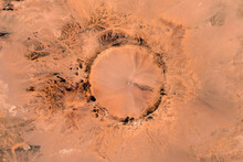 Tenoumer Impact Crater Looking Down Aerial View From Above, Bird's Eye View Tenoumer Crater, Mauritania