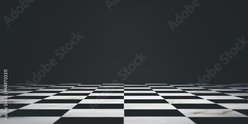 Black area of chessboard on dark background for decoration of any competition such as business and sport by 3d render.