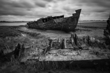 Old Wrecked Fishing Boat On The Beach Fleetwood Lancashire